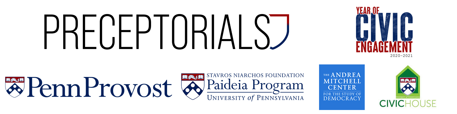 Preceptorials, Year of Civic Engagement, Penn Provost, SNF Paideia Program, Andrea Mitchell Center, and Civic House logos